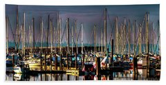Docked Sailboats Beach Towel by David Patterson