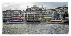Docking At The Boardwalk Walt Disney World Mp Beach Towel