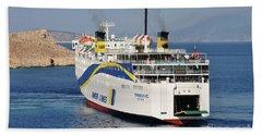Docking Ferry On Halki Beach Towel