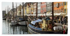 Dockside At Nyhavn Beach Towel by Eric Nielsen