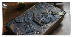 Beach Towel featuring the relief Doctor Who Steampunk Journal  by Reina Resto