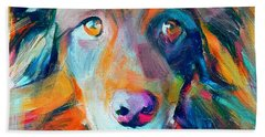 Dog Colorful Portrait Beach Sheet