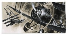 Dog Fight Between British Biplanes And A German Triplane Beach Towel by Wilf Hardy