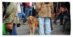 Dog In A Crowd Beach Sheet
