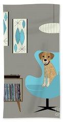 Dog In Egg Chair Beach Towel