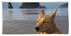 Dog Portrait @ Cannon Beach Beach Sheet