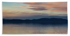 Dog Silhouette On The Sunset Lake Beach Sheet