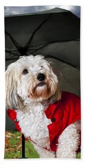 Dog Under Umbrella Beach Towel