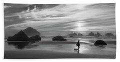 Dog Walker Bw Beach Towel