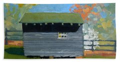 Dogwood Farm Shed Beach Towel by Catherine Twomey