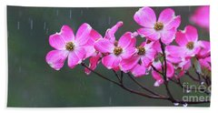 Dogwood Flowers In The Rain 0552 Beach Towel