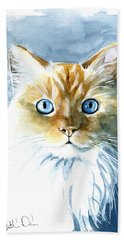 Doll Face Flame Point Himalayan Cat Painting Beach Sheet
