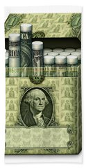 Dollar Cigarettes Beach Towel by James Larkin