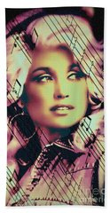 Dolly Parton - Digital Art Painting Beach Sheet