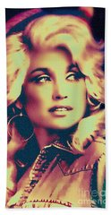 Dolly Parton - Vintage Painting Beach Towel by Ian Gledhill