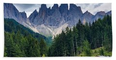 Beach Towel featuring the photograph Dolomite Drama by Jacqueline Faust