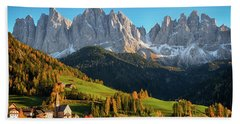 Dolomite Village In Autumn Beach Towel by IPics Photography