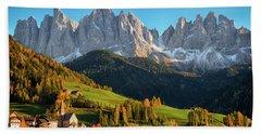 Dolomite Village In Autumn Beach Sheet by IPics Photography