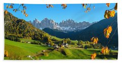 Dolomites Mountain Village In Autumn In Italy Beach Towel by IPics Photography