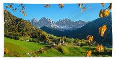 Dolomites Mountain Village In Autumn In Italy Beach Sheet