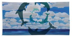 Dolphin Cloud Dance Beach Sheet