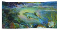 Beach Towel featuring the painting Dolphin Fantasy by Denise Fulmer