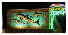 Beach Towel featuring the photograph Dolphin Inn - Wildwood Nj by Kristia Adams