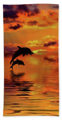 Beach Sheet featuring the digital art Dolphin Silhouette Sunset By Kaye Menner by Kaye Menner