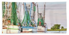 Dolphin Tail - Docked Shrimp Boats Beach Towel