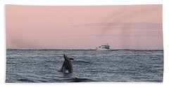 Dolphins At Play Beach Sheet by Robert Banach