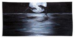 Dolphins Dancing Full Moon Beach Sheet by Bernadette Krupa
