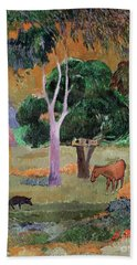 Dominican Landscape Beach Sheet by Paul Gauguin
