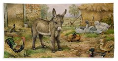 Donkey And Farmyard Fowl  Beach Towel by Carl Donner