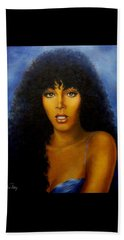 Beach Towel featuring the painting Donna Summers by Loxi Sibley