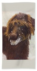 Beach Towel featuring the painting Don't Eat The Snow by Nancy Jolley
