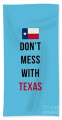 Don't Mess With Texas Tee Blue Beach Towel
