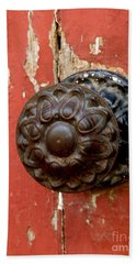 Door Knob On Red Door Beach Sheet by Lainie Wrightson