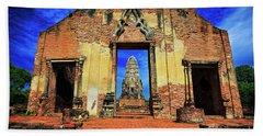 Doorway To Wat Ratburana In Ayutthaya, Thailand Beach Towel