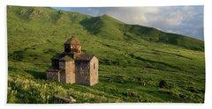 Dorband Monastery In The Field, Armenia Beach Towel by Gurgen Bakhshetsyan