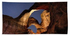 Double Arch At Night Beach Sheet
