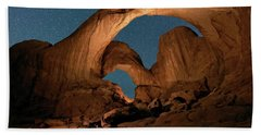 Double Arch And The Milky Way - Arches National Park - Moab, Utah. Beach Towel