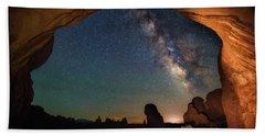 Double Arch Milky Way Views Beach Sheet by Darren White