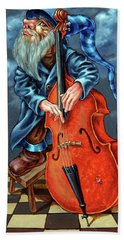 Double Bass And Bench Beach Towel