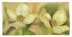 Beach Towel featuring the digital art Double Dogwood Blossoms In Evening Light by Lois Bryan