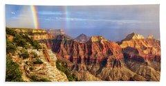 Double Rainbow At Grand Canyon North Rim Beach Towel