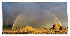 Double Rainbow Gold Beach Towel