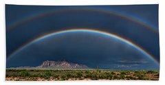 Beach Sheet featuring the photograph Double Rainbow  by Saija Lehtonen