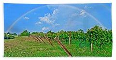 Double Rainbow Vineyard, Smith Mountain Lake Beach Towel