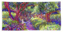 Dove And Healing Garden Beach Towel by Jane Small