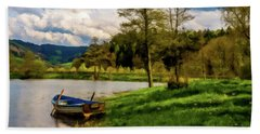 Down By The Lake Photodigitalpainting Beach Towel by David Dehner